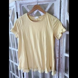 Altar'd State small yellow ruffle T-shirt